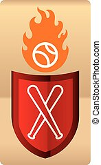 Drawing of shiny baseball shield with ball in flames.
