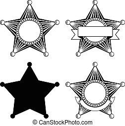 five pointed sheriffs star set