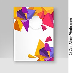 Vector illustration of a brochure template. Modern booklet, flyer, cover business report. Geometrical elements ( 3d triangles). Abstract background for business design.