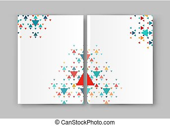 Vector illustration of a brochure template. Modern booklet, flyer, cover business report. Geometrical elements ( triangles). Abstract background for business design.