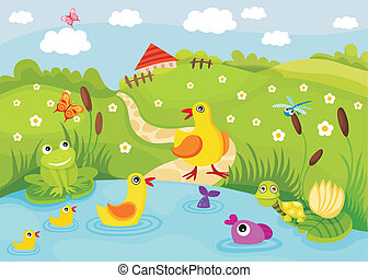 vector illustration of a cute pond