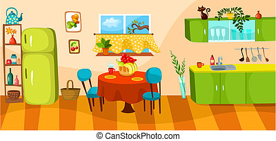 vector illustration of a kitchen
