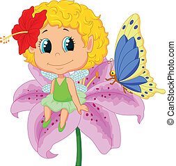 Baby fairy elf cartoon sitting on f