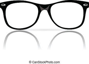 vector illustration of black glasses frames wiith shadow