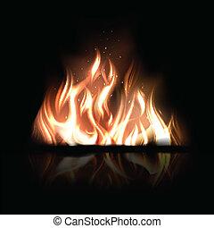 Vector illustration of burning fire on a black background