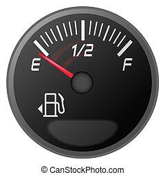 vector illustration of car dash board petrol meter, fuel gauge