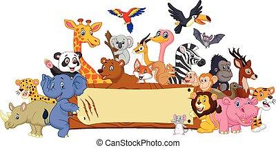 Cartoon animal with blank sign