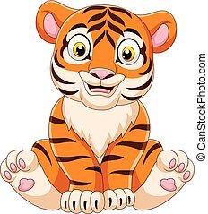 Cartoon baby tiger sitting
