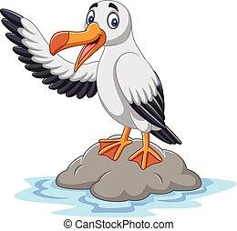 Cartoon cute albatross waving