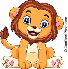Cartoon funny baby lion