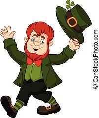 Cartoon funny leprechaun tipping his hat