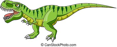 Cartoon green dinosaur on white background
