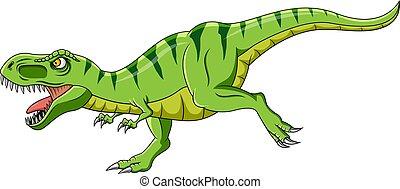 Cartoon green t-rex dinosaur growling