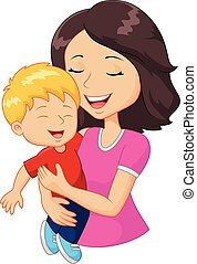 Vector illustration of Cartoon happy family mother holding son