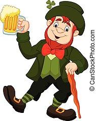 Cartoon happy leprechaun holding beer
