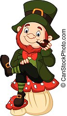 Cartoon happy leprechaun sitting on the mushroom,