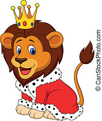 Vector illustration of Cartoon lion in king outfit