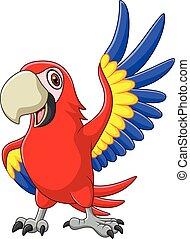 Cartoon macaw waving