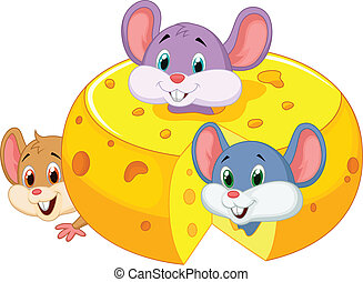 Cartoon mouse hiding inside cheddar