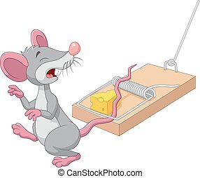 Cartoon mouse in a mousetrap