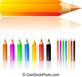 vector illustration of colour pencils isolated on white