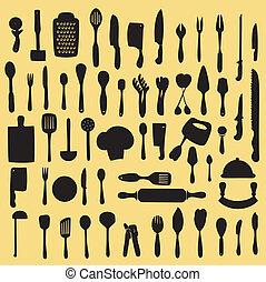 Vector illustration of cooking utensil set