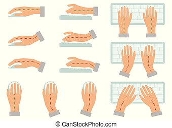 correct and incorrect hand position for use keyboard and holding mouse