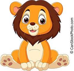 Cute baby lion cartoon sitting