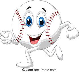 Cute baseball ball cartoon running