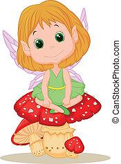 Cute fairy cartoon sitting on mushr