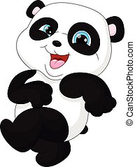 Cute funny baby panda hanging on th