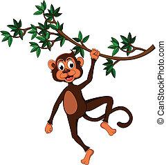 Cute monkey on a tree