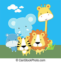 cute safari baby animals
