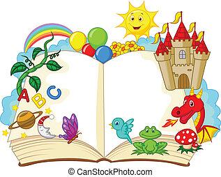 Vector illustration of Fantasy book cartoon