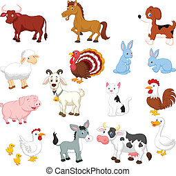 Vector illustration of Farm animal collection set
