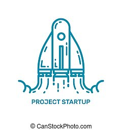 Vector illustration of flying rocket ship in line style. Space rocket launch.