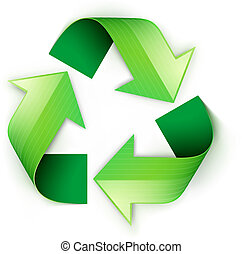 Vector illustration of green recycling symbol isolated on white background