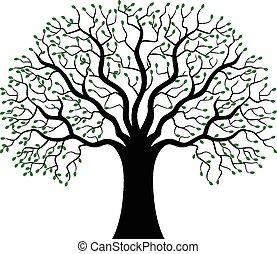 Green Tree silhouette cartoon