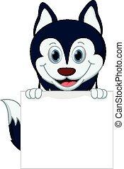 Happy husky dog cartoon