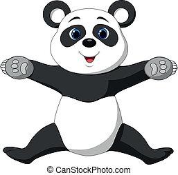 Happy panda cartoon