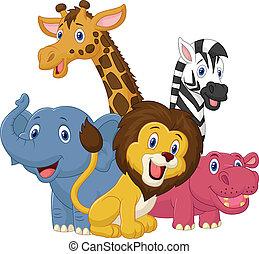 Happy safari animal cartoon