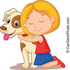 Vector illustration of Lovely cartoon little girl hugging pet dog with passion