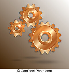 Vector illustration of metal copper cogwheels set
