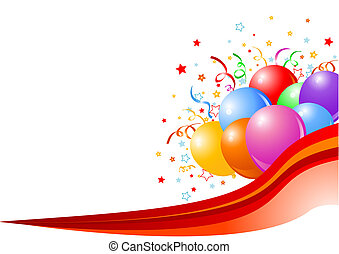 Vector illustration of Party balloons background with ribbon