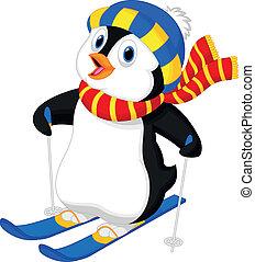 Penguin cartoon skiing