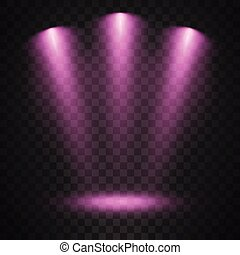 Purple spotlights on transparent background
