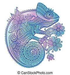 Vector illustration of rainbow chameleon and decorative patterns