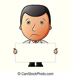 Sad businessman with holding blank sign