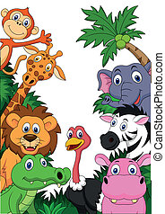 Safari animal cartoon background
