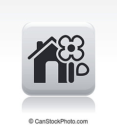 Vector illustration of single isolated flower house icon